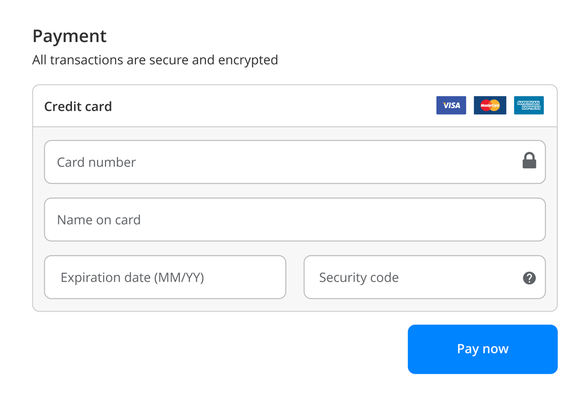 Smart control: Payment form