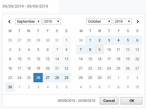 Smart control: Dates and date range picker